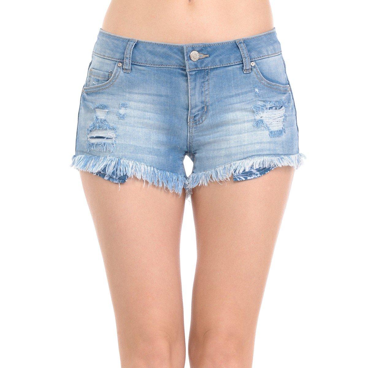Wax Women's Juniors Denim Shorts w Heavy Frayed Hem (Small, Light Wash)