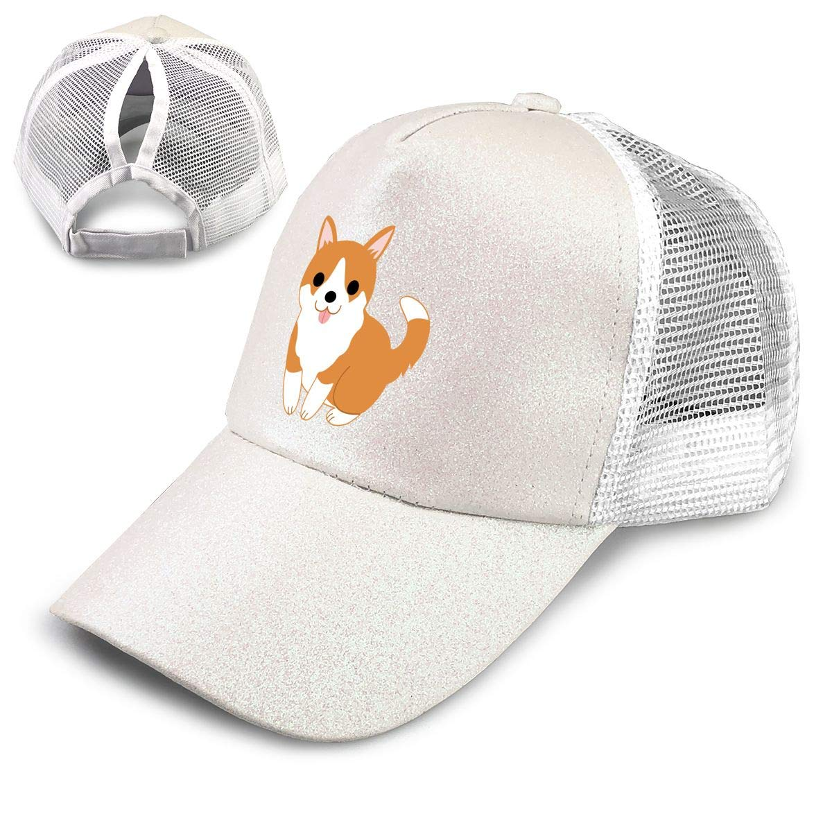 Cute Puppy Ponytail Messy High Bun Hat Ponycaps Baseball Cap Adjustable Trucker Cap Mesh Cap