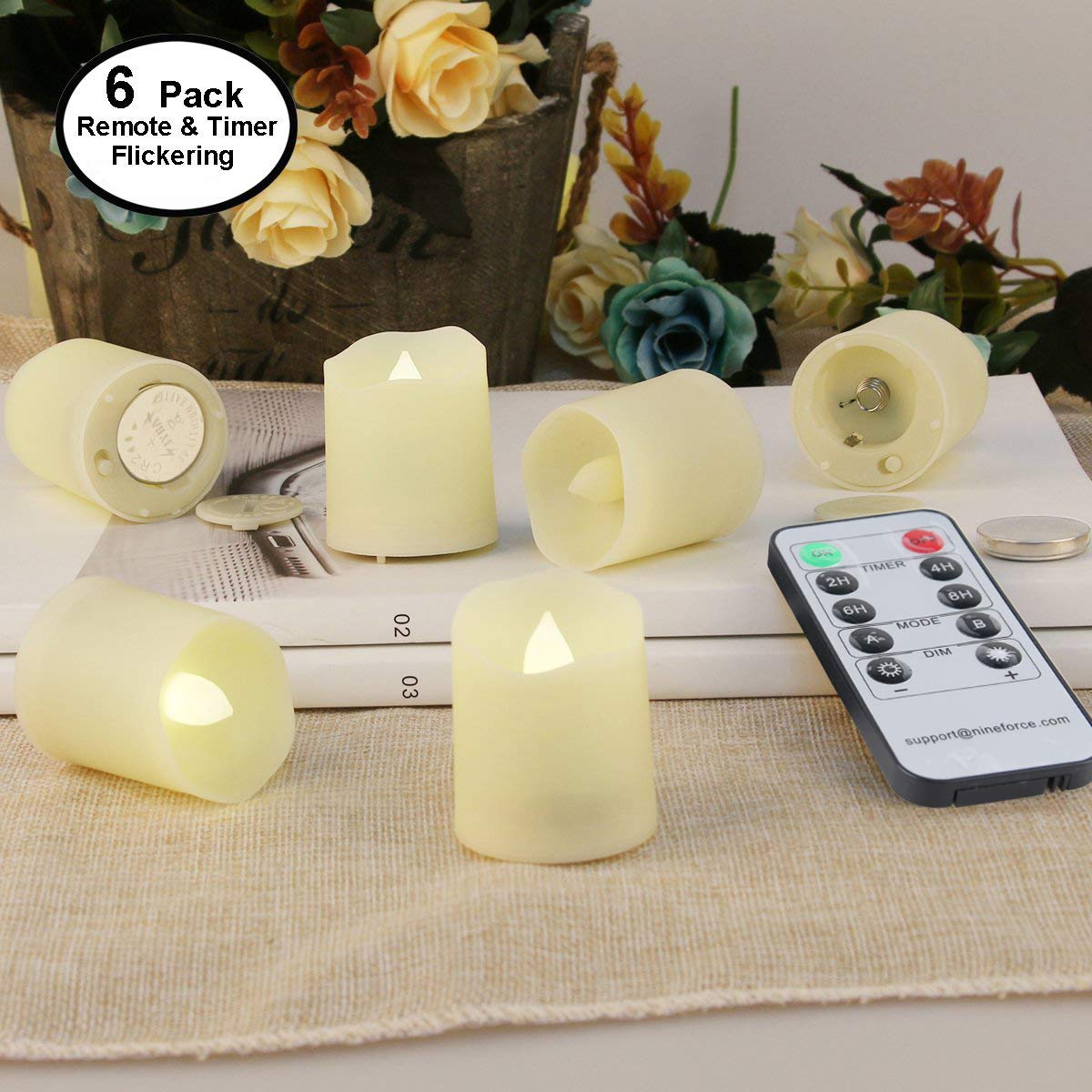 Flameless Candles with Remote and Timer - Tealight Candles - LED Tea Lights Votive Candle - Unscented Outdoor Flickering Fake Candles - Battery Operated Candles 200 Hours - 6 set x 1.3''