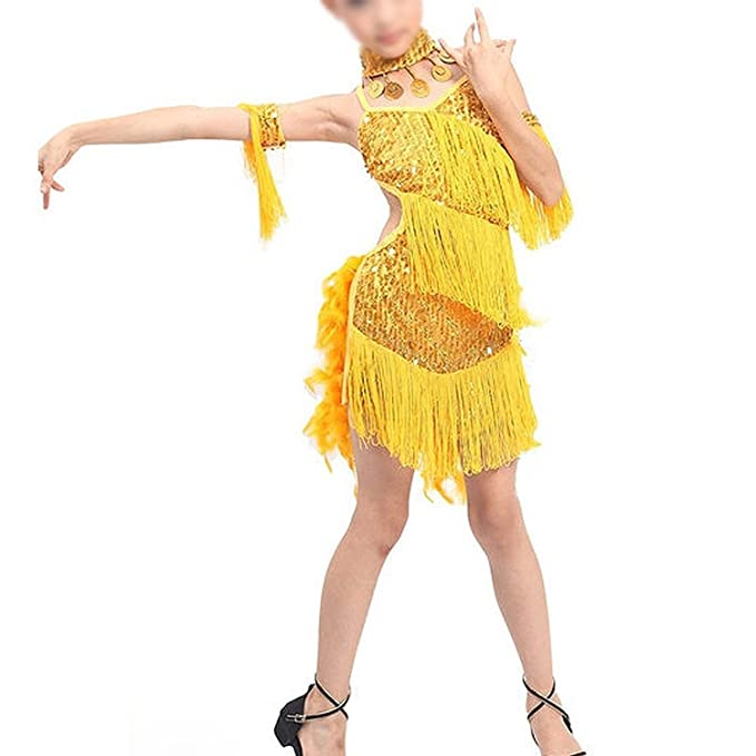 TOOGOO(R)New Children Kids Sequin Feather Fringe Stage Performance Competition Ballroom Dance Costume