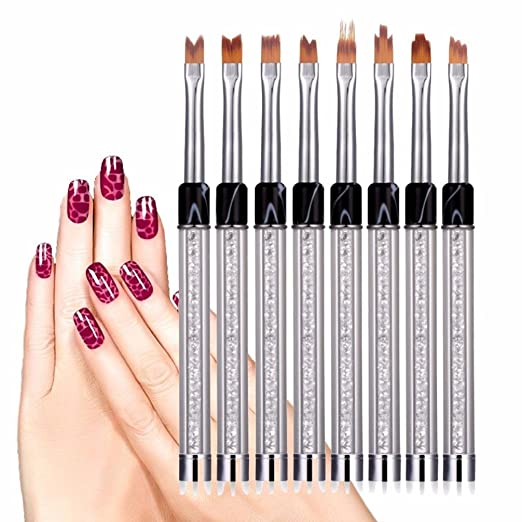Jinjin 8 Pcs Uv Gel Acrylic Liner Painting Nail Art Tips Design