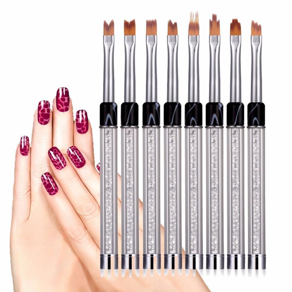Jinjin 8 Pcs UV Gel Acrylic Liner Painting Nail Art Tips Design Polish Brush Pen Set