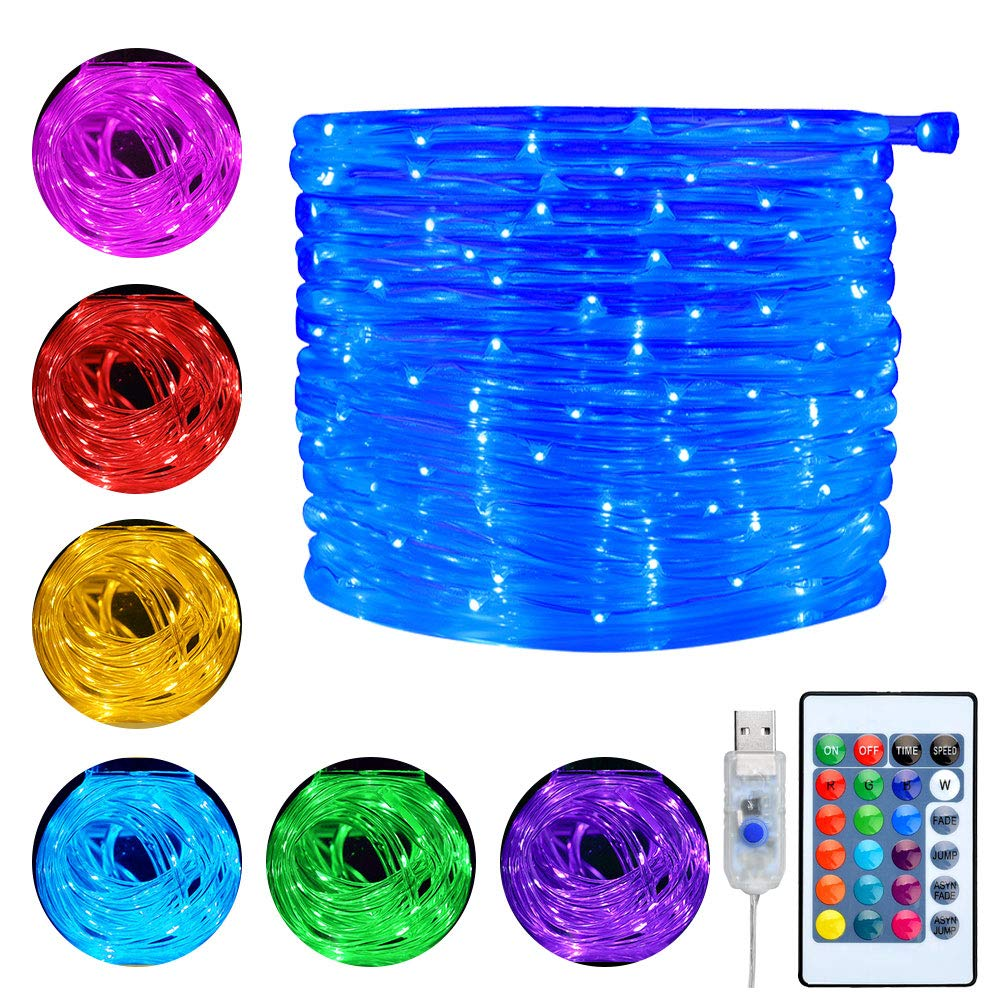 Ollny LED Rope Lights 33ft 16 Colors Changing Outdoor 100 LEDs 4 Mode USB Powered Rope Tube Lights with Remote Timer for Wedding Christmas Party Patio Waterproof Indoor Decoration Multi Color