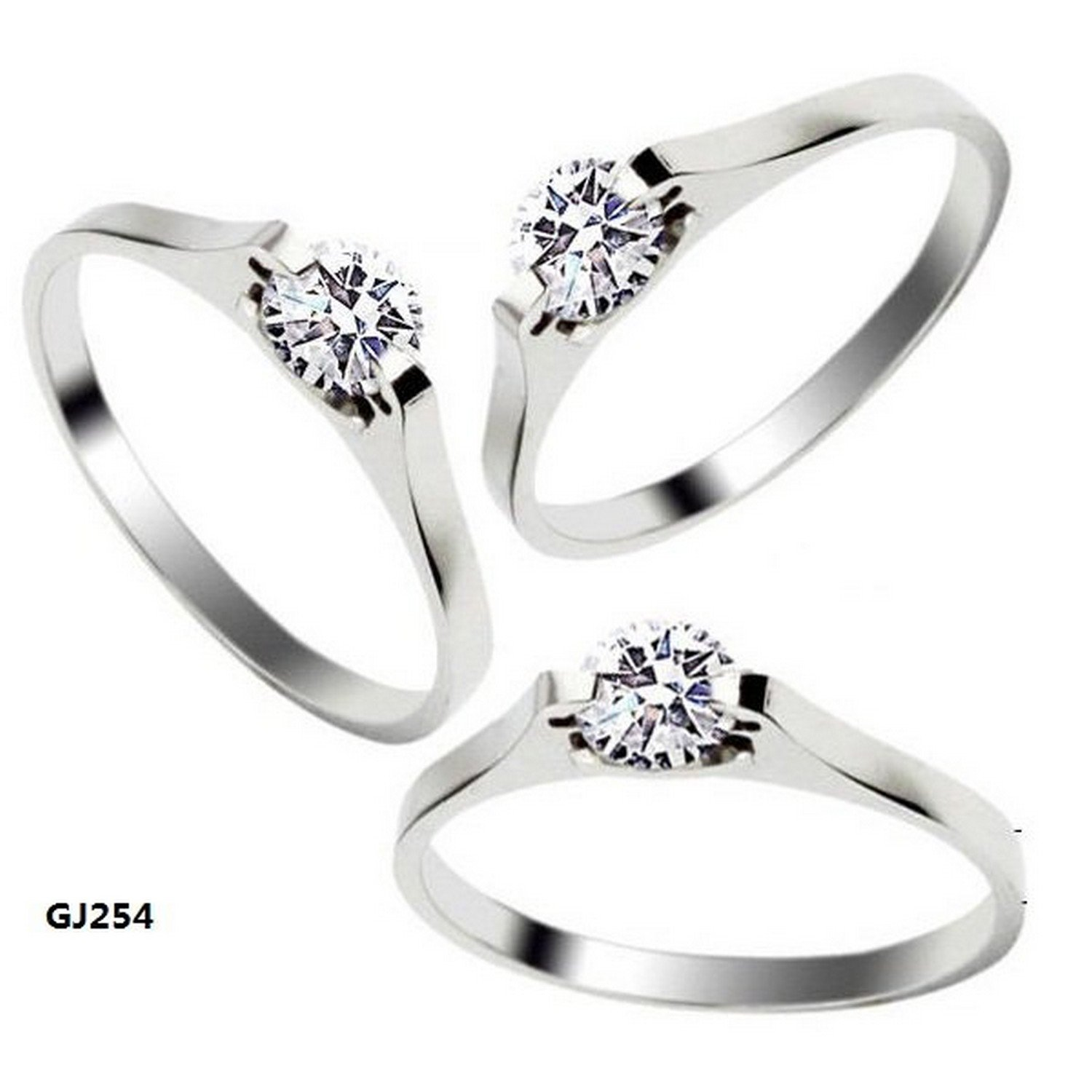 GemMart Jewelry Fashion Jewelry 316L Stainless Steel Women Ring Silver Simple CZ Zircon Ring Wedding Ring Engagement Ring GJ254
