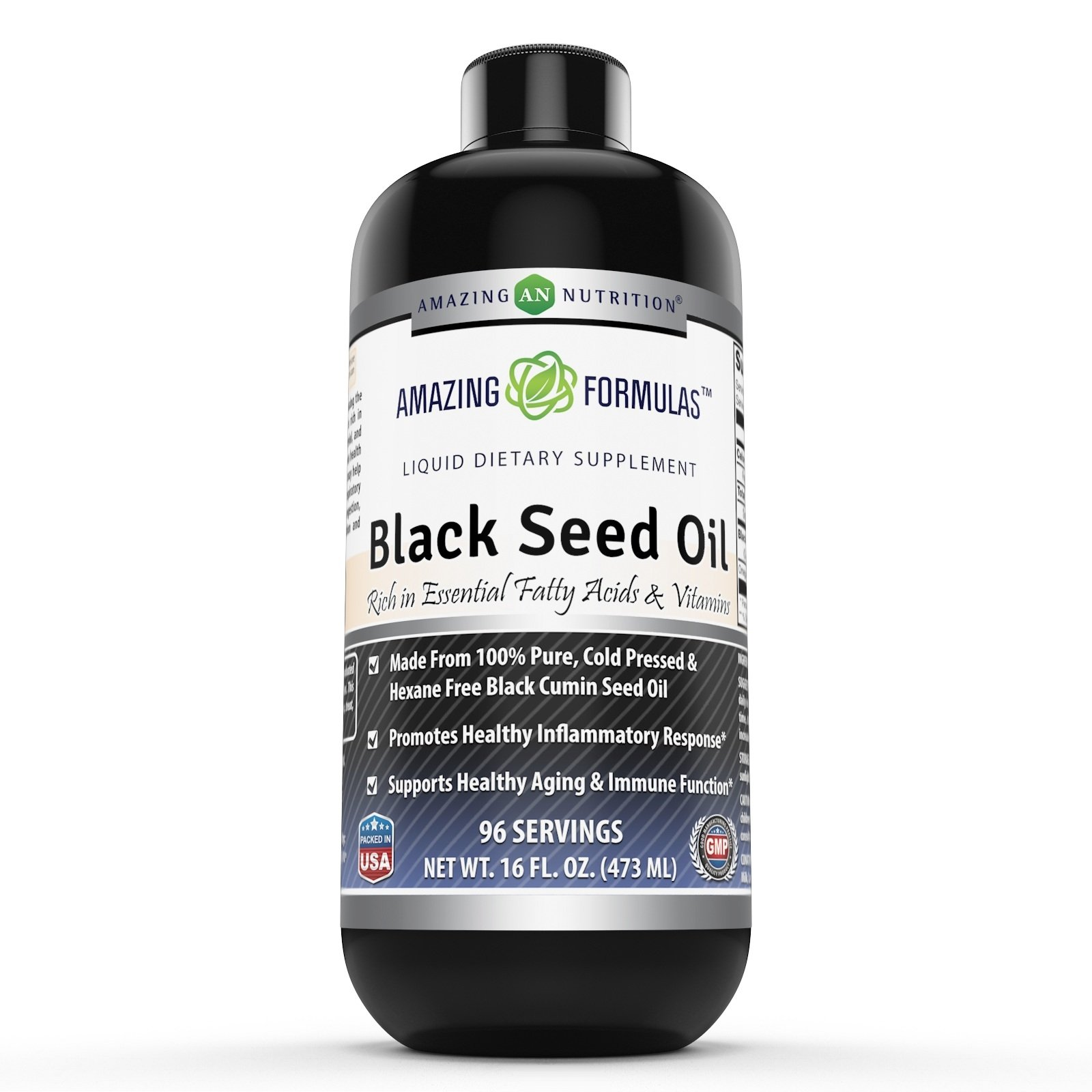 Amazing Formulas Black Seed Oil Natural Dietary Supplement - Cold Pressed Black Cumin Seed Oil from 100% Genuine Nigella Sativa - 16 oz. Bottle