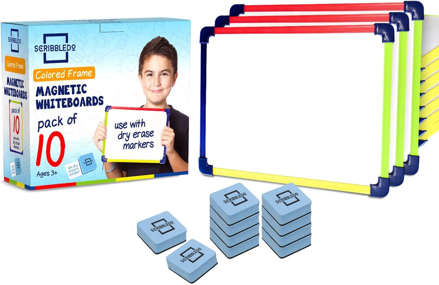 """Colored Frame Magnetic Dry Erase White Boards Pack of 10 l 9"""" X 12"""" Whiteboard : Office Products"""
