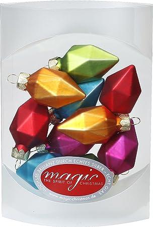 Christbaumkugeln Glas Bunt.Magic 10 Diamanten 4 5cm Glas Weihnachtsschmuck Weihnachtsdeko Christbaumkugeln Farbe Mille Fiori Bunt
