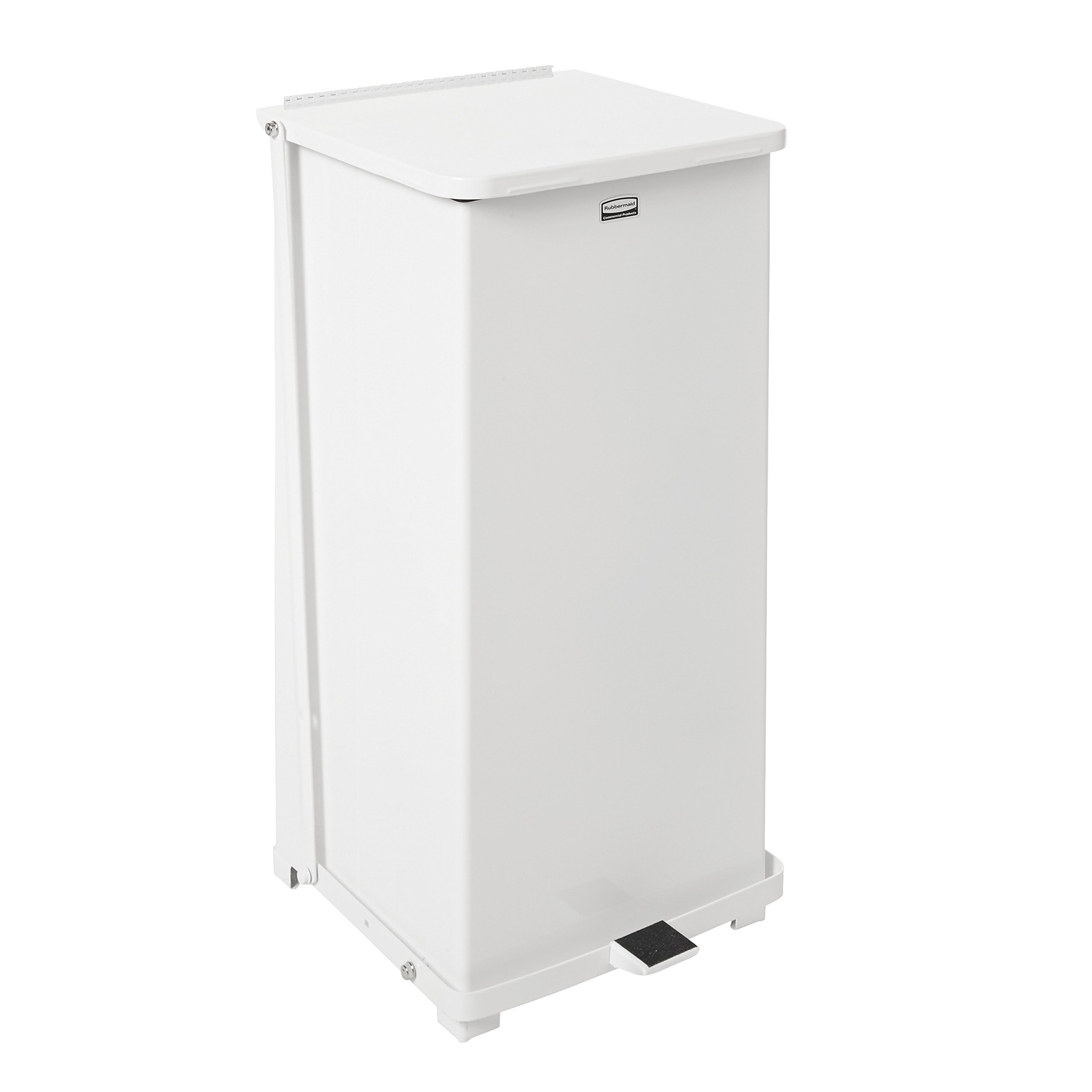 Rubbermaid Commercial Defenders Step-On Trash Can, 24 Gallon, White, FGST24EPLWH