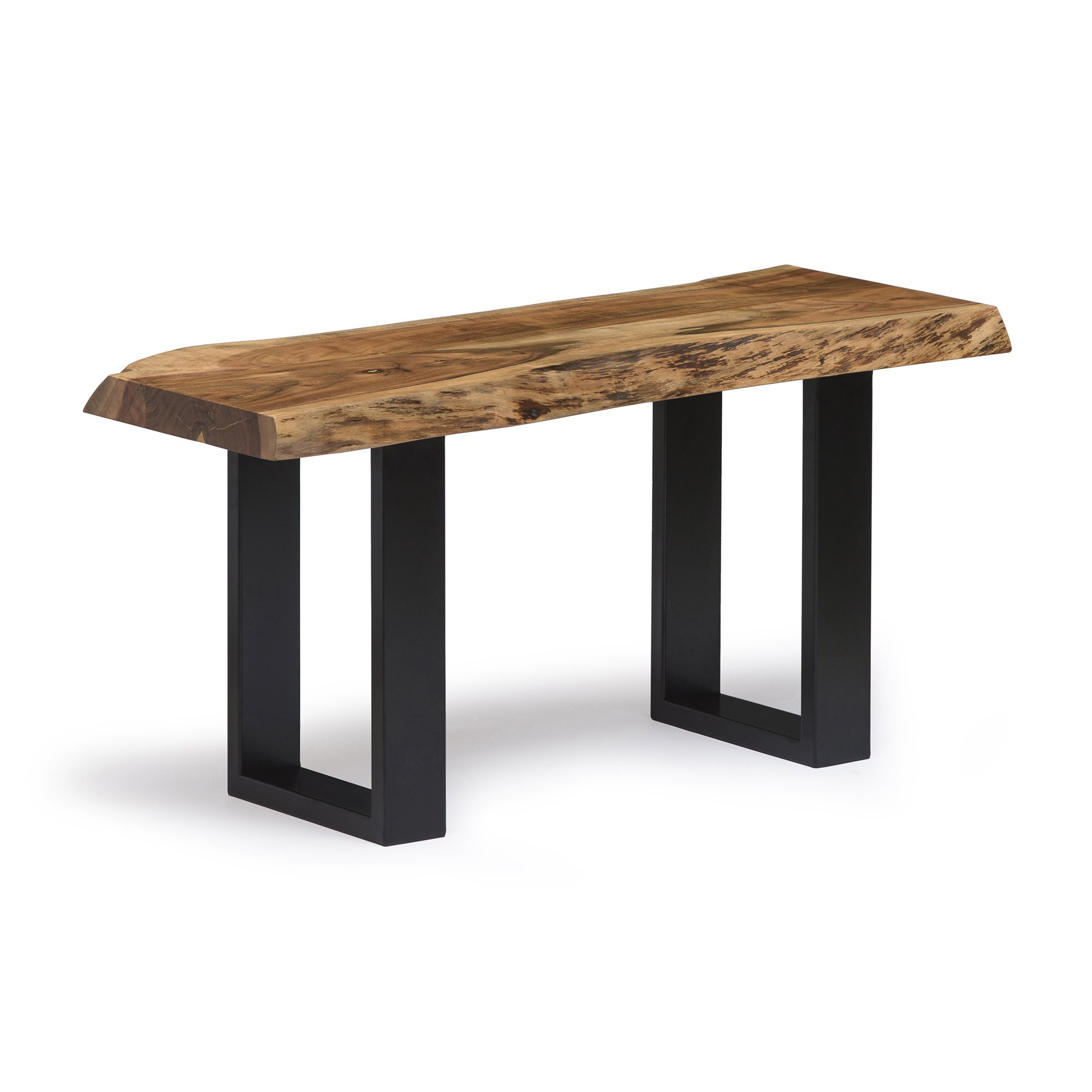 Alpine Live Edge Solid Wood 36'' Bench with Metal Legs, Natural by Alaterre