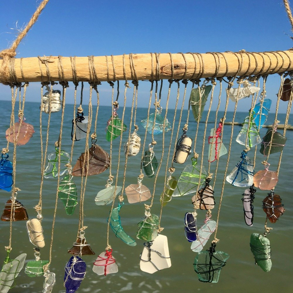 BohoBeach Glass Sun Catcher Eco Friendly Art Whimsical Driftwood Beach Wedding Swap Party Gift by Pier Beach Glass (Image #3)
