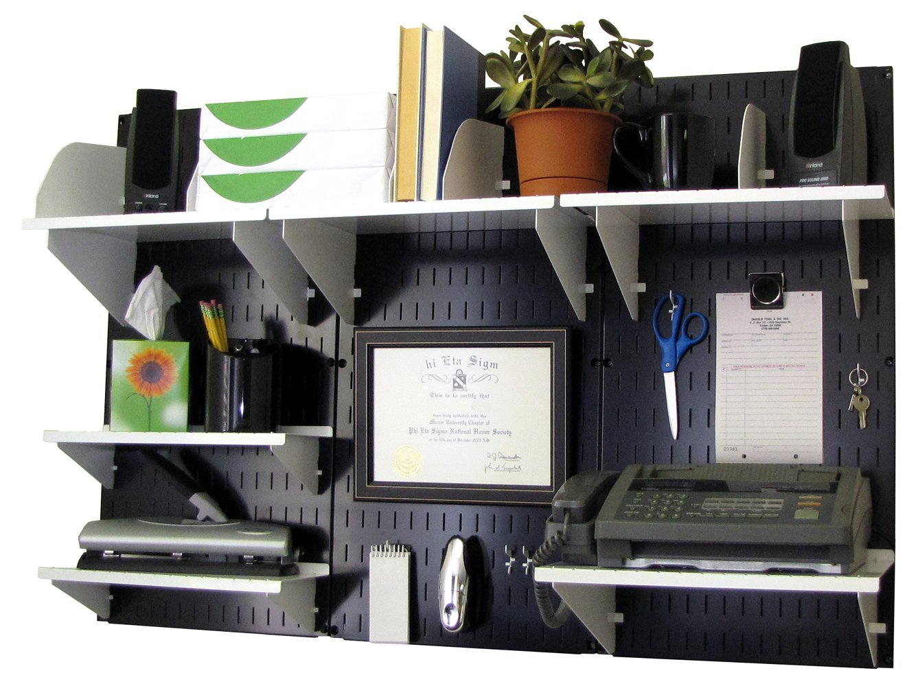 Wall Control Office Organizer Unit Wall Mounted Office Desk Storage and Organization Kit Black Wall Panels and White Accessories by Wall Control