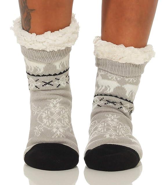 Cleostyle - Collection Cálido Calcetines/Zapatillas, Medias con Antideslizante Suela para Hombres, Calcetines