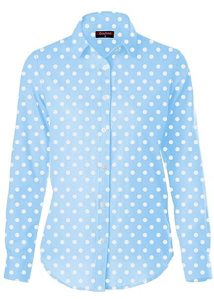 Dioufond Mujeres Camisas de Algodón Manga Larga Diseño a Lunares Tops Blusas - Trabajo/Verano(EU 38, Azul): Amazon.es: Ropa y accesorios