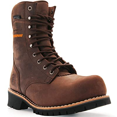 ROCKROOSTER Logger Boots for Men, Composite Toe, 9'' Safety Work Shoes, Waterproof, Non-Slip, Anti Puncture, Oiled Resistant, EH, Leather Welt, Anti Fatigue AP155, AP156: Shoes