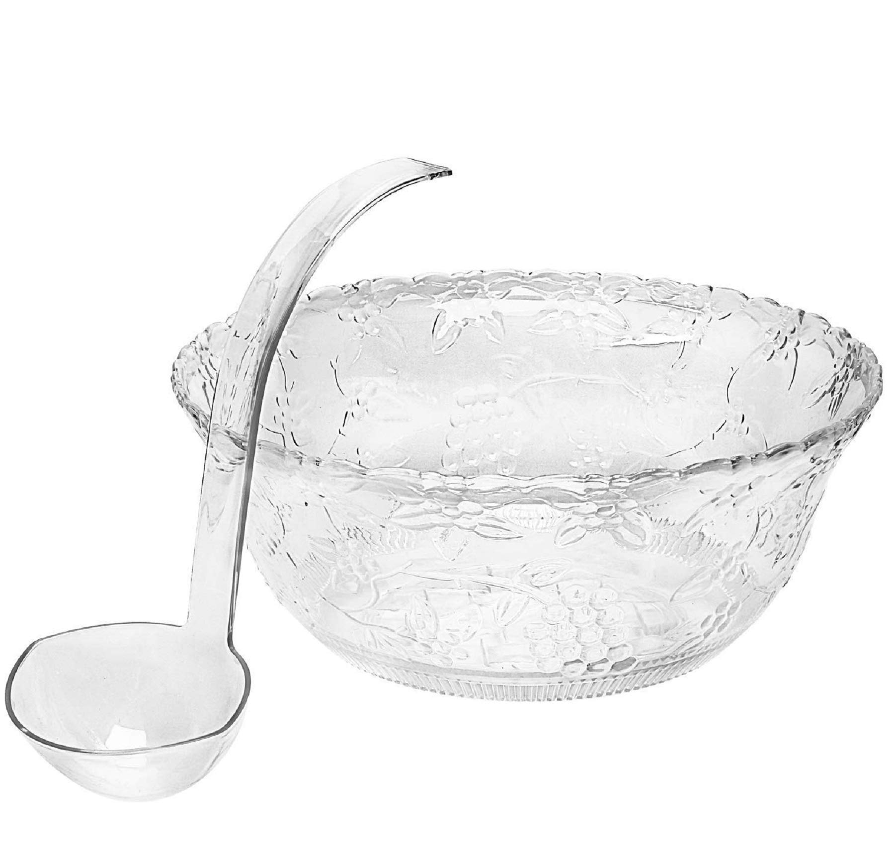 Clear Plastic Punch Bowl With Ladle - Large 2 Gallon Bowl With 5 oz Ladle