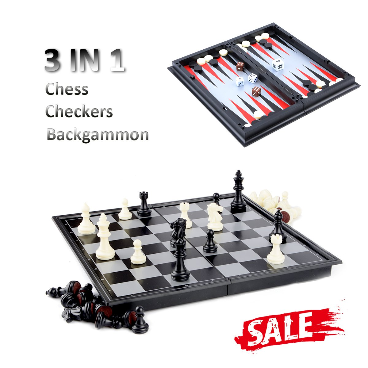 Hoshin Chess / Checkers / Backgammon 3 in 1 Set, Portable Folding Travel Magnetic Chess Board for Kids, 9.8 x 9.8 x 0.8 Inch by Hoshin