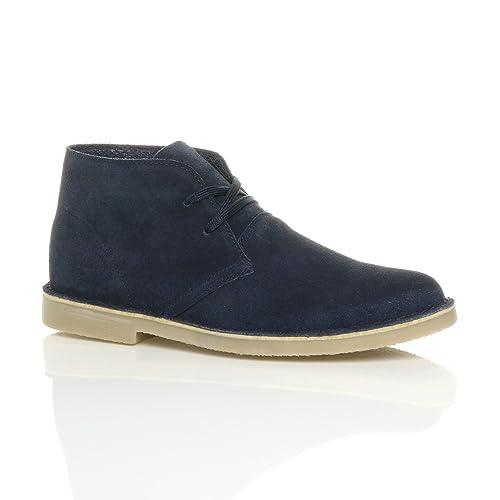 Zapato de Hombre, bota plana, piel, ante, para desierto o trabajo, botines, azul (Bleu foncé), 43: Amazon.es: Zapatos y complementos