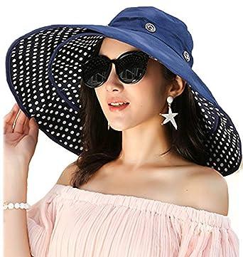 6b6e657d2ca03 Madehappy Fashion Packable Extra Large Brim Floppy Sun Hat Reversible UPF 50+  Beach Sun Bucket