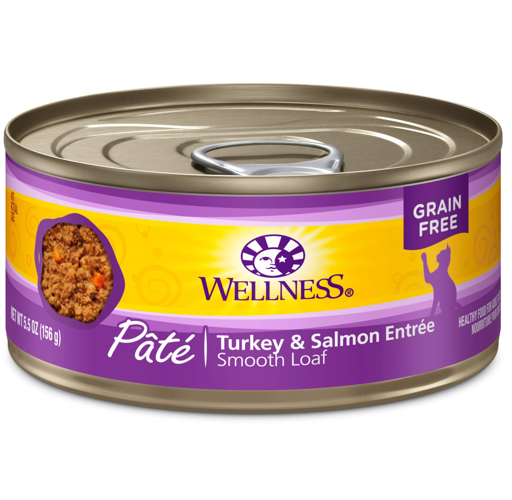 Wellness Natural Grain Free Wet Canned Cat Food, Turkey & Salmon Pate, 5.5-Ounce Can (Pack Of 24) by Wellness Natural Pet Food