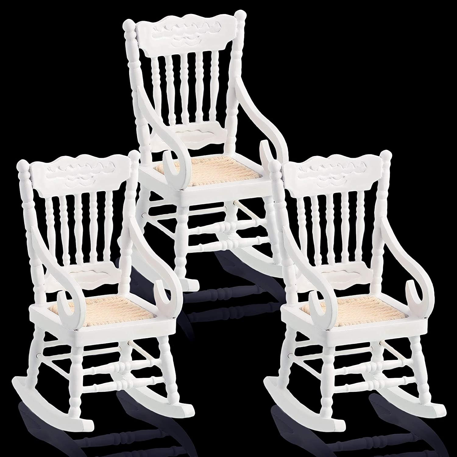 Jetec 3 Pieces Doll House Wooden Chairs 1:12 Scale Christmas Dollhouse Model Chairs Mini Dollhouse Wooden Rocking Chairs for Dollhouse Decoration, White