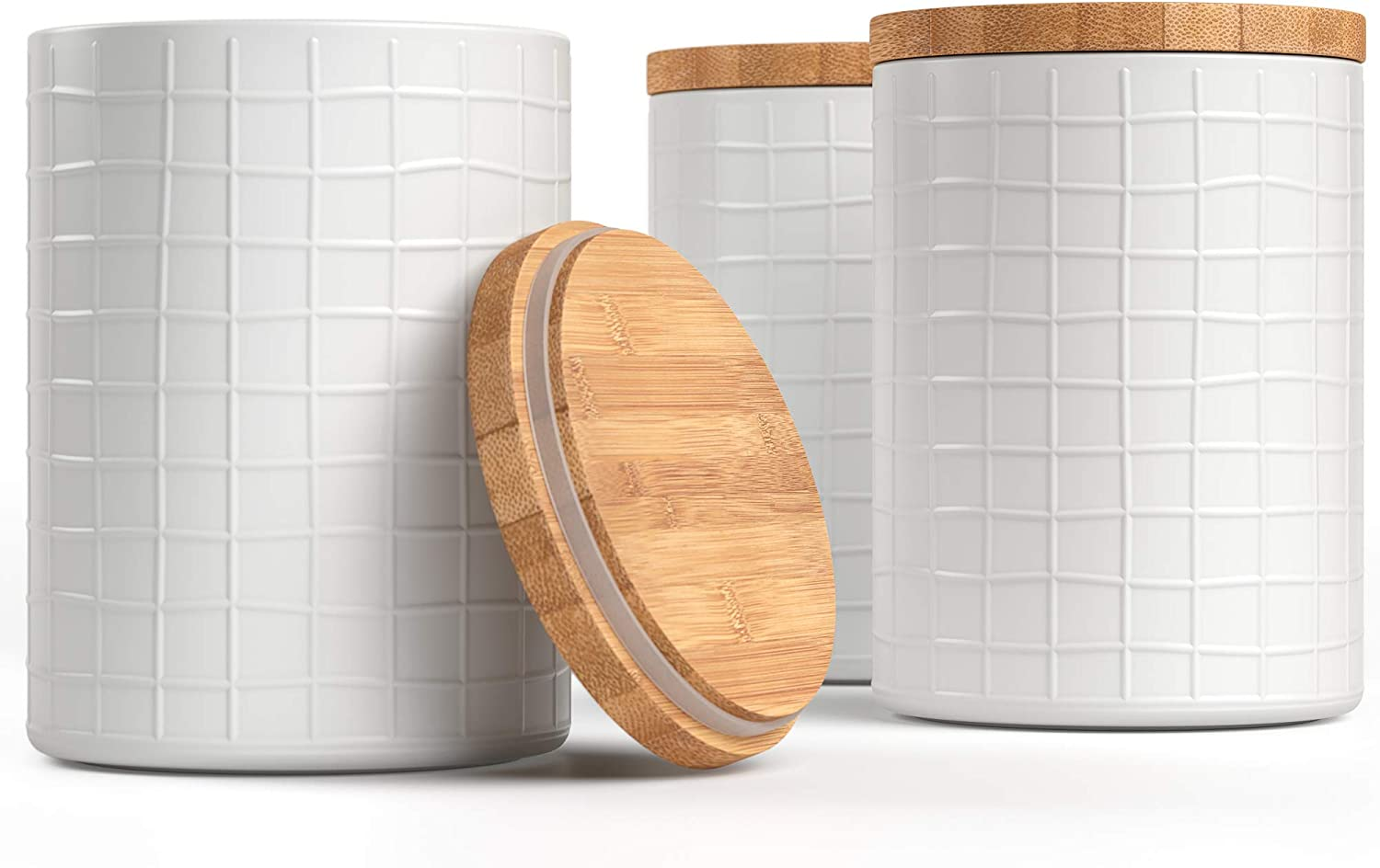 """Barnyard Designs Kitchen Canisters with Bamboo Lids, Airtight Metal Canister Set, Coffee, Sugar, Tea, Flour Storage Containers, Farmhouse Kitchen Decor, White, 5.25"""" x 6.75"""", Set of 3"""
