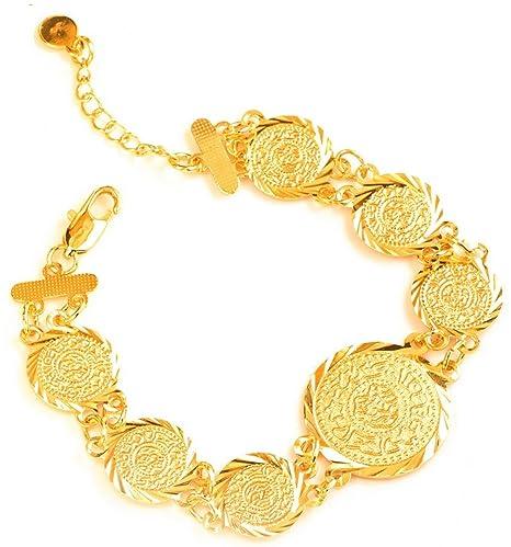 9158700a4c8f Dubai enlace cadena moneda Trendy islámica musulmán de acero inoxidable  Ladies Girls mujeres moneda pulsera 18 K chapado en oro ...