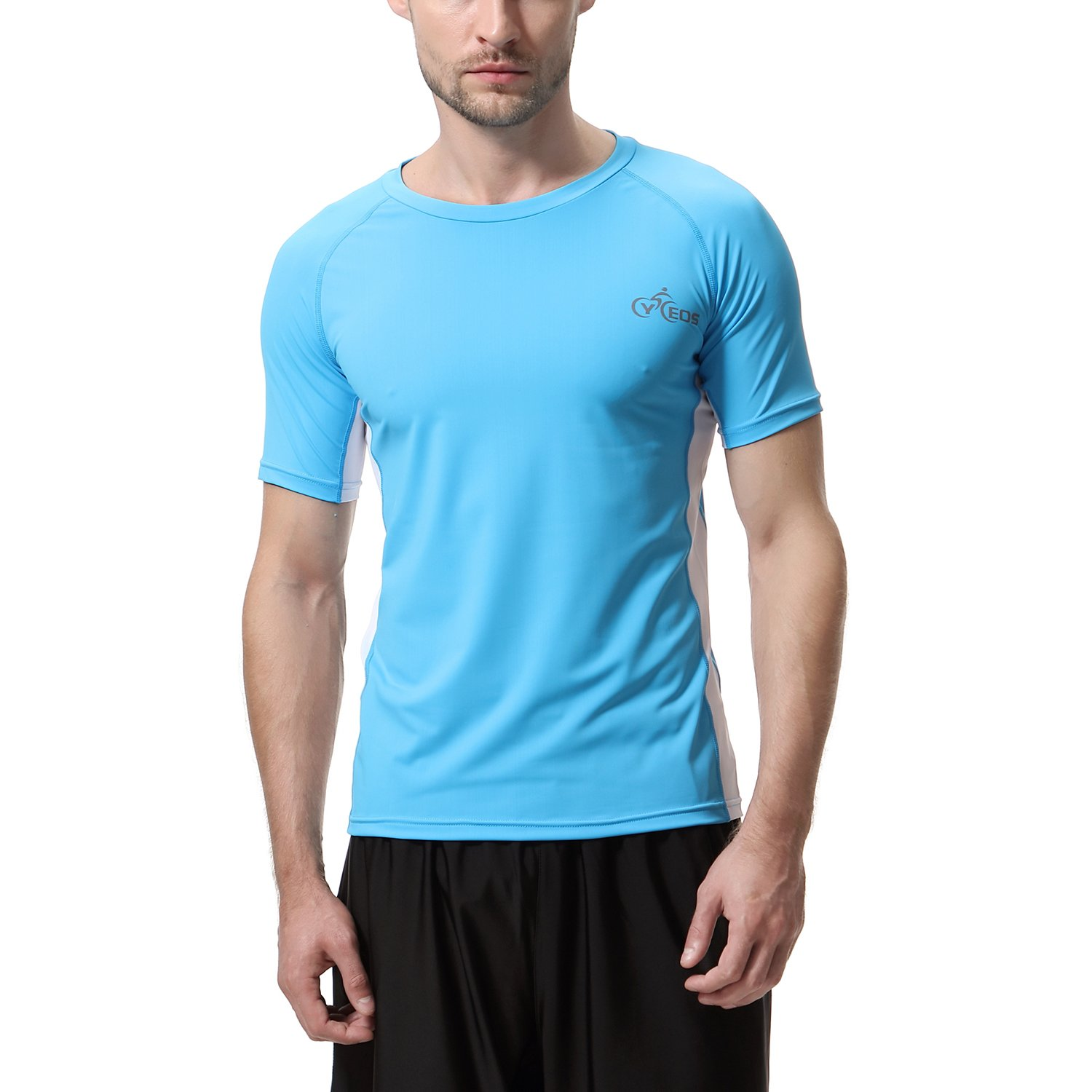 db5fc409f1 Amazon.com: CYCEOS Men's Short Sleeve Rash Guard Shirt - UPF 50+ Rashguard  Swim Shirts Men Swimwear Surf Athletic Tops: Clothing