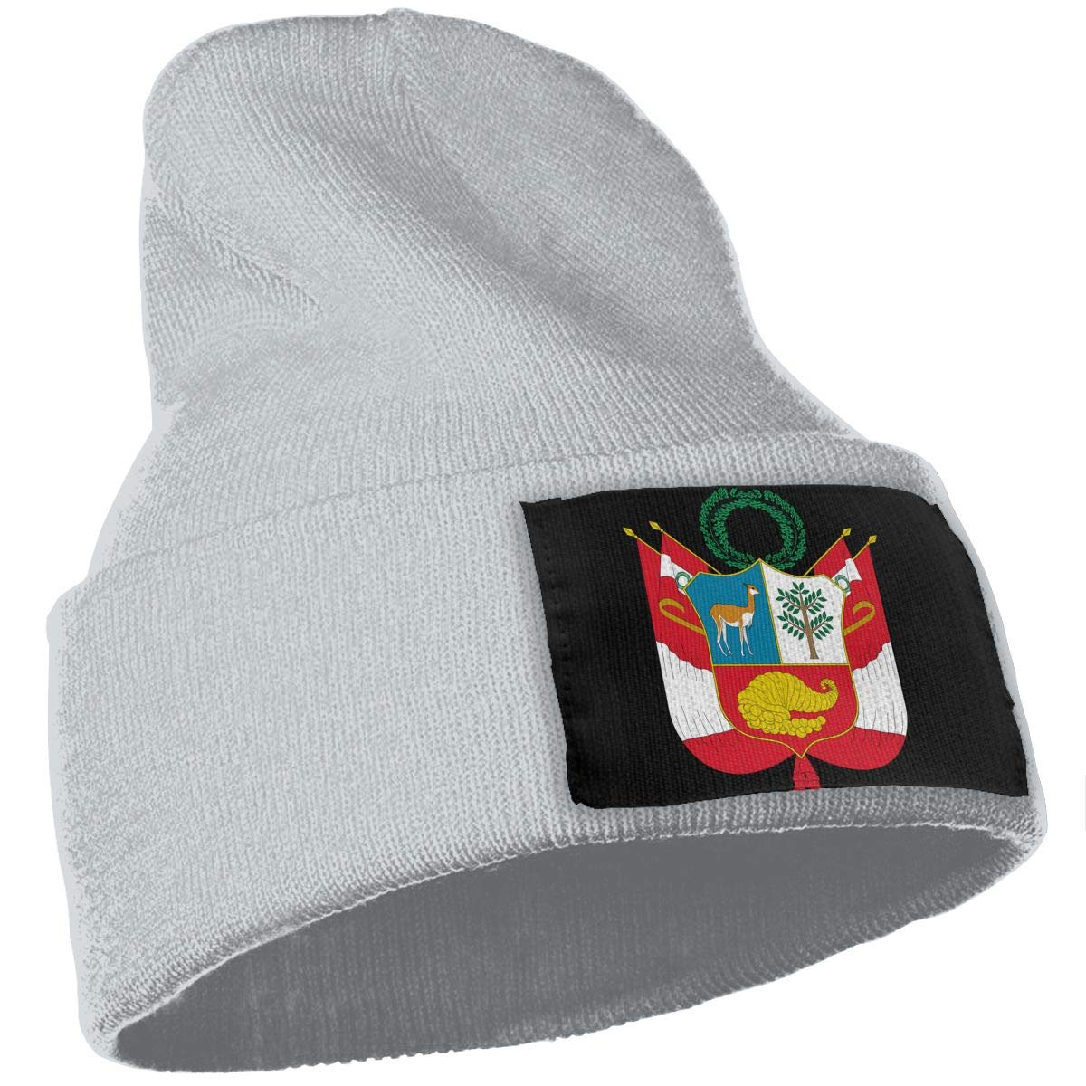 QZqDQ Coat of Arms of Peru Unisex Fashion Knitted Hat Luxury Hip-Hop Cap