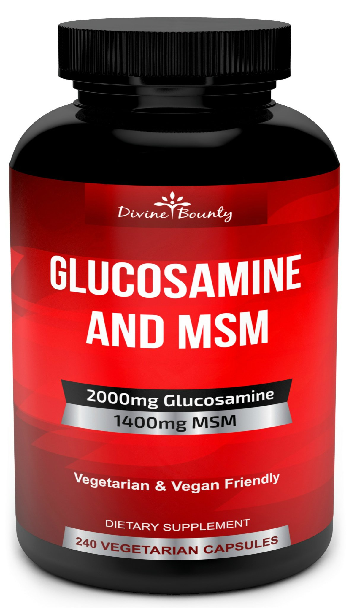 Glucosamine Sulfate Supplement (2000mg per Serving) with MSM - 240 Small Vegetarian Capsules - No Shellfish, GMO's or Harmful Additives by Divine Bounty