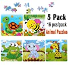 Kids Puzzles Toys for 2-4 Ages, Wooden Animals Educational Puzzle, 5 in 1 Pack for Elephant Frog Tortoise Giraffe Bee Set 16 Pieces Autism Children Puzzles Learning Toys (Bright Colors)