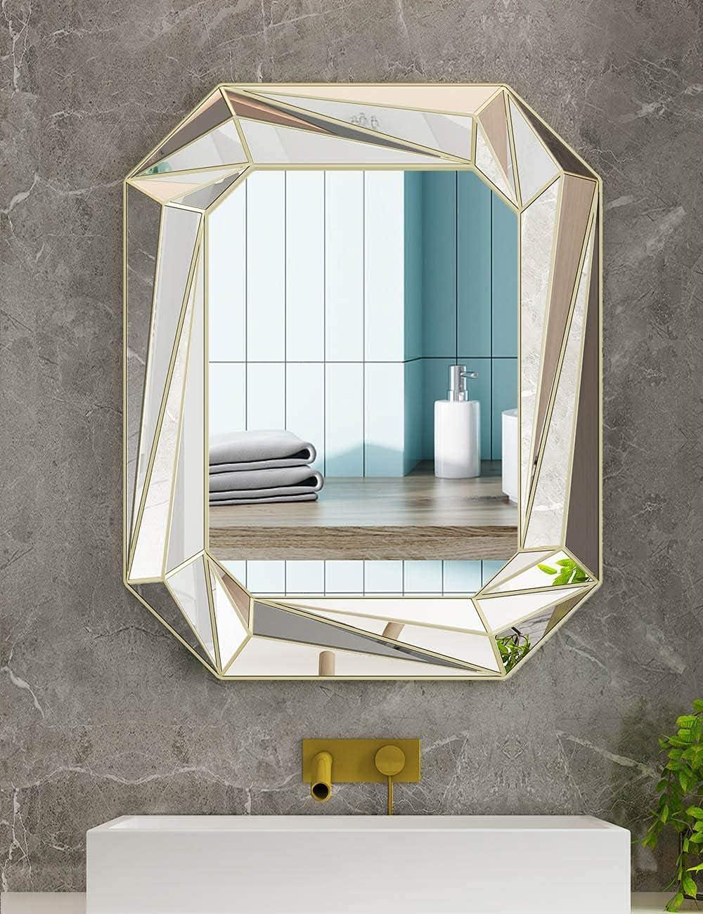 Modern Geometric Wall Mirror Art,Silver Mirror Wall Decor Wall-Mounted Mirrors for Bathroom,Bedroom,Living, Dining Room,24x30 inch