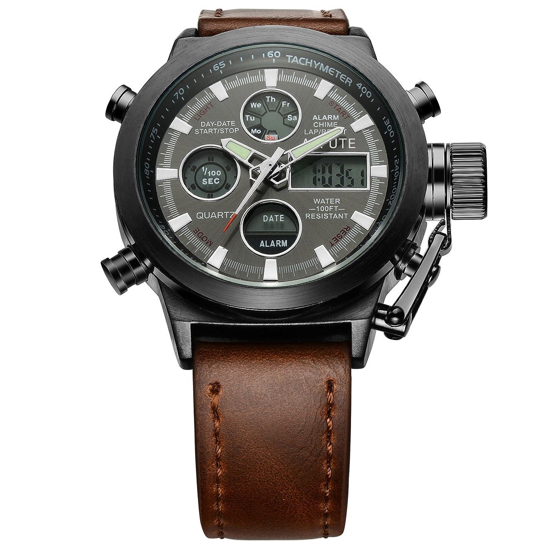 Leather pu stylish band led wrist watch