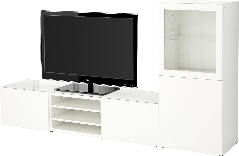 IKEA BESTA - almacenaje de la TV puertas combinación / de vidrio Lappviken / vidrio transparente blanco sindvik: Amazon.es: Hogar