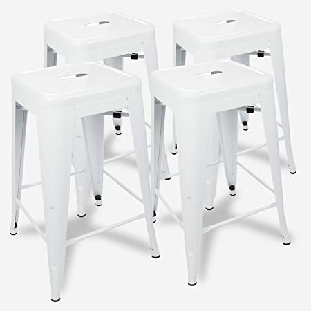 Amazon Com Urbanmod 24 Inch Bar Stools For Kitchen Counter Height Indoor Outdoor Metal Set Of 4 Glossy White Garden Outdoor