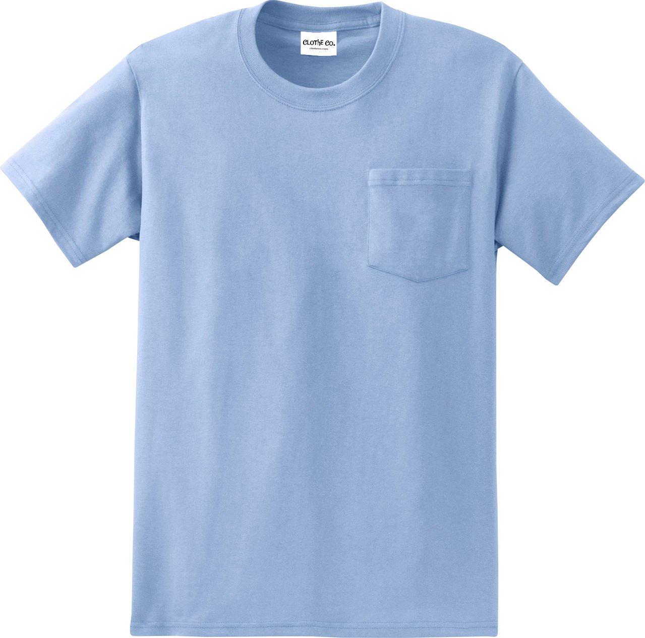 Clothe Co。メンズHeavyweight 100 %コットン半袖ポケットTシャツ B01BK6XQ3K L|ライトブルー ライトブルー L