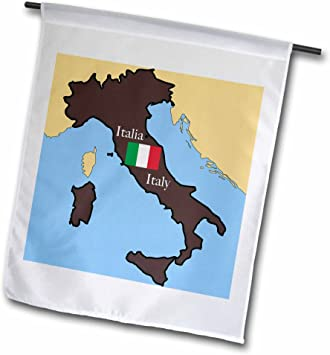 Amazon Com 3drose Fl 37591 1 The Map And Flag Of Italy With Italy Printed In English And Italian Garden Flag 12 By 18 Inch Garden Outdoor