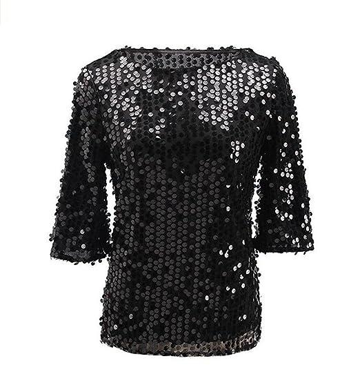 1381da09a9c ZG&DD Womens Shimmer Glam Glitter Sequin Embellished Sparkle Blouse Top  Shirt