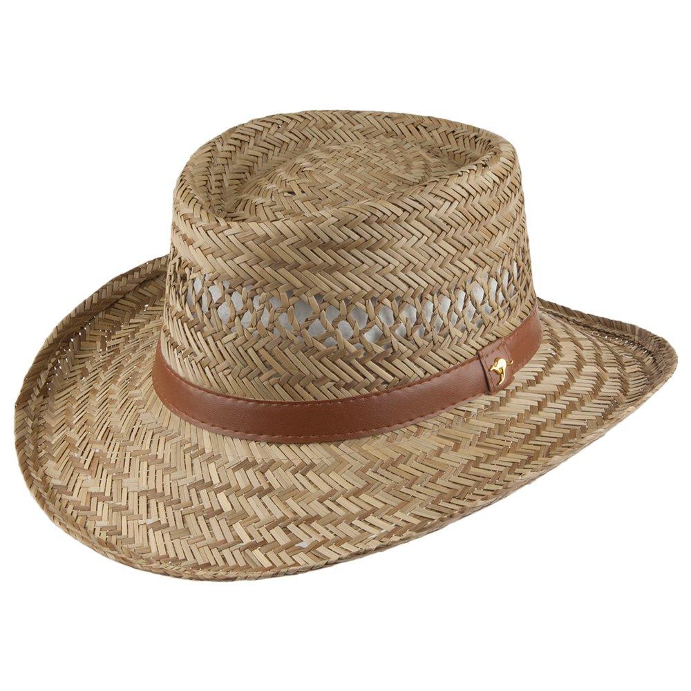 Dorfman Pacific Hats Rush Straw Gambler Hat - Natural