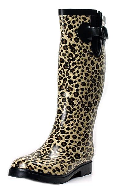 2ae7d0e867b1 Rain Boots Rubber Women New Size Snow Wellies Polka Dot Plaid Leopard Zebra  Knee High Flat