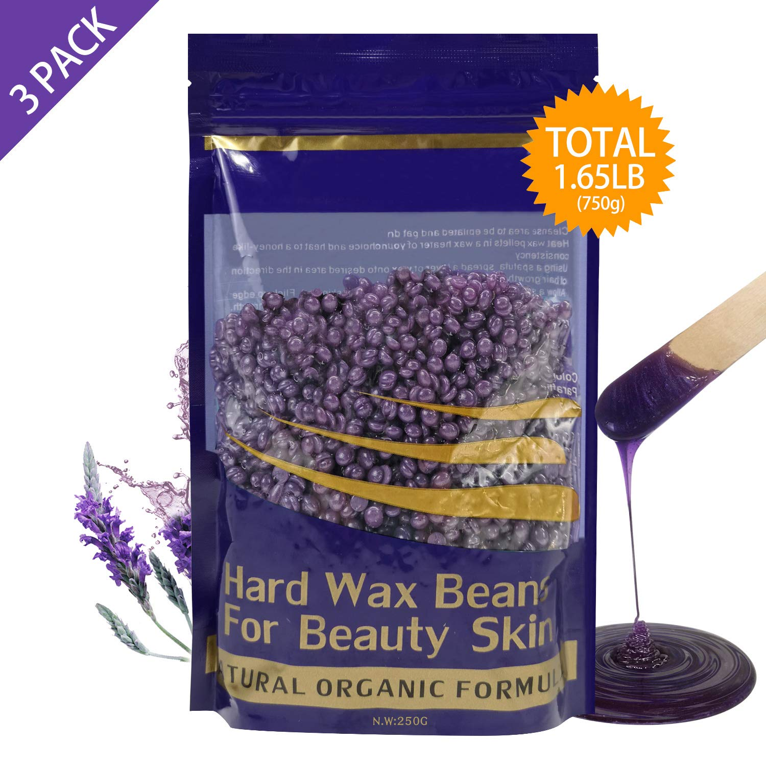 Hard Wax Beans Hair Removal for Women and Men - Stripless Painless Wax Beads Depilatory for Wax Warmer Kit, Smooth Facial and Body Armpits Bikini (250g, 3 Pack, Purple,Lavender)