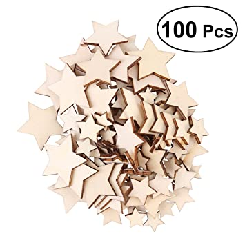 ROSENICE 100 STÜCKE Holz Stern Deko Basteln Holzscheiben Für DIY Handwerk  Hochzeit Party Dekor (1