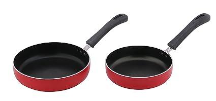 Nirlep Aluminium Fry Pan Set, 1.8mm, 2-Pieces, Red
