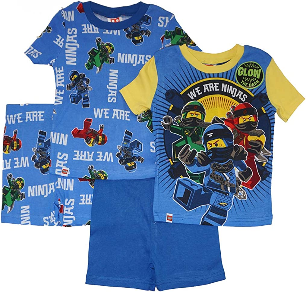Long Sleeve 4 Piece PJ Set LEGO Ninjago Boys Pajama Set Long Pant,Glow in the Dark
