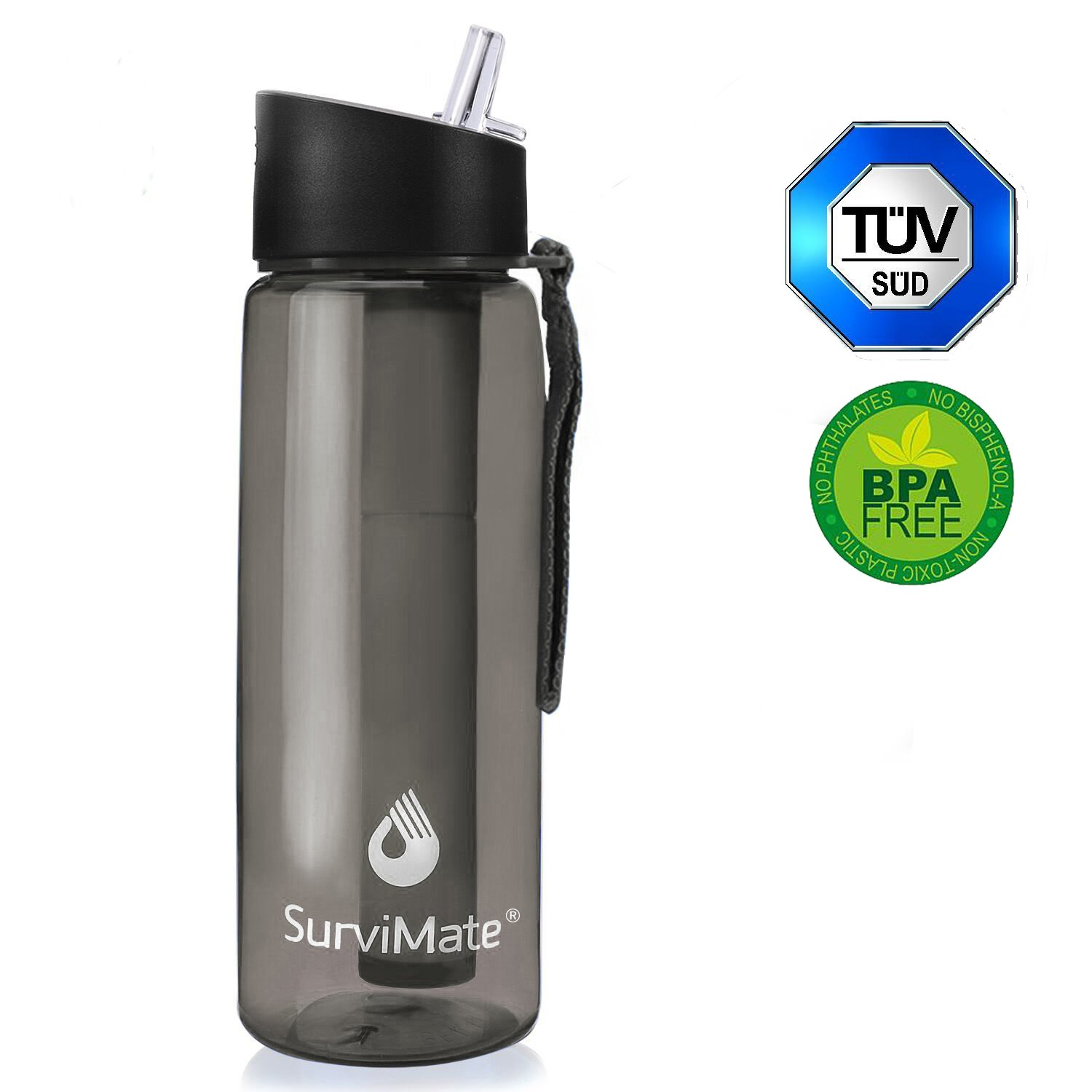 SurviMate Filtered Water Bottle BPA Free with 4-Stage Intergrated Filter Straw for Camping, Hiking, Backpacking and Travel by SurviMate (Image #1)