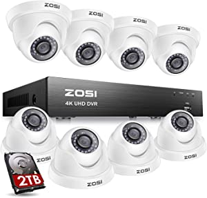 ZOSI Ultra HD 4K Home Security Camera System Outdoor Indoor, H.265+ 8 Channel CCTV DVR with 8 x 4K (8MP) Surveillance Dome Camera Weatherproof, 150ft Night Vision, 2TB Hard Drive, Remote Access