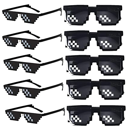 FSMILING Paquete de 10 Gafas de Sol de Mosaico 8 bits ...