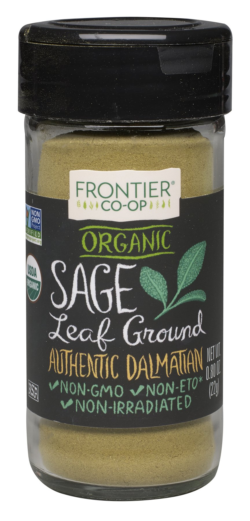 Frontier Organic Spices, Ground Sage, 0.8 Ounce (Pack of 4)