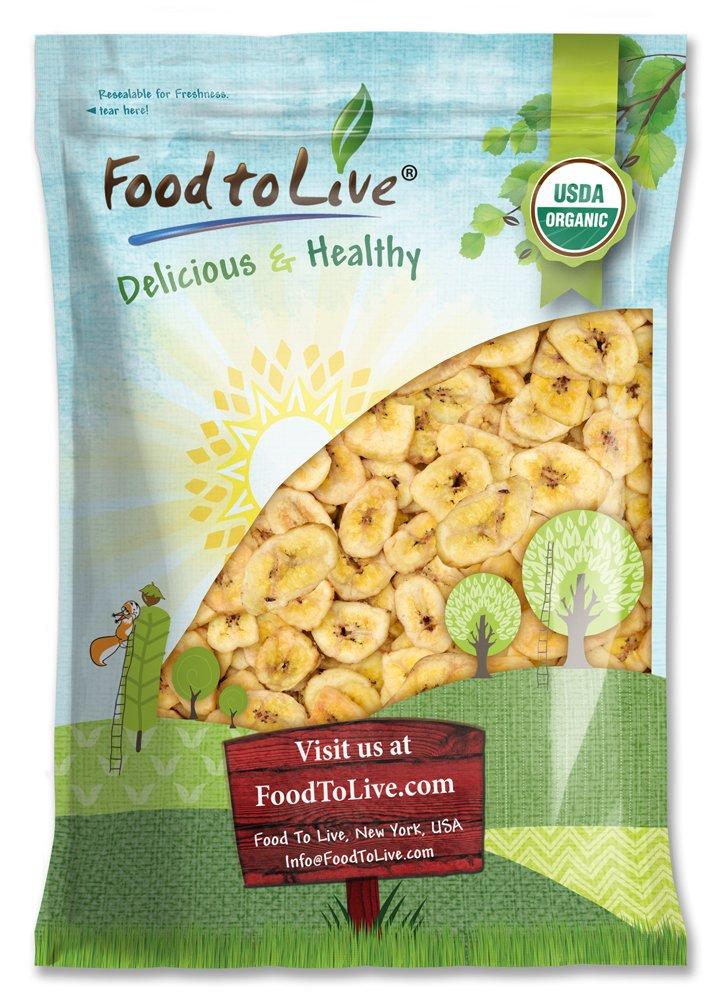 Organic Banana Chips, 5 Pounds — Sweetened, Unsulfured, Non-GMO, Vegan, Kosher, Bulk