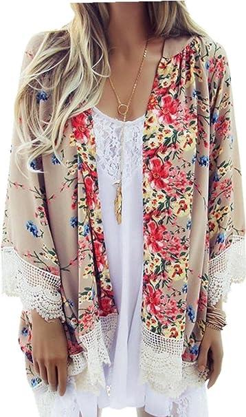 Mujer Moda Vintage Encaje Estampado de Flores Chifón Kimono Blusón Blusa Camisero Camisa Top M