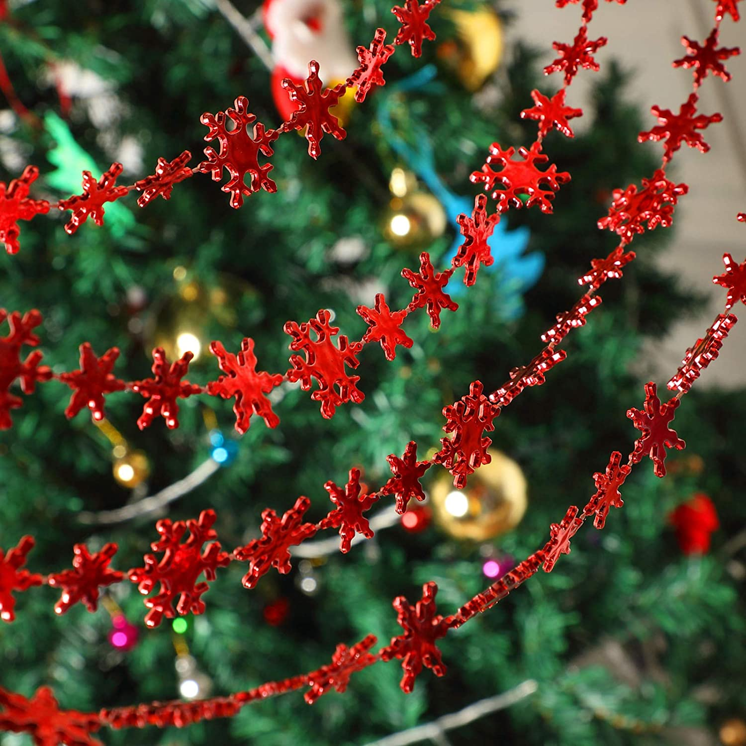 10 Meters Christmas Tree Ornaments Snowflake Ornaments Christmas Tree Decoration Red Series Pendant Jewelry Handmade Diy Necklace Bracelet Supplies For Snowflake Bead Curtain Hanging Decoration Home Kitchen